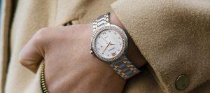 Montre de luxe argentée poignet femme